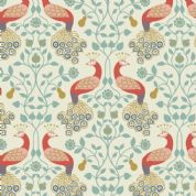 Lewis & Irene Cheiveley - 5638 - Coral Peacocks on Cream (Metallic) - A245.1 - Cotton Fabric